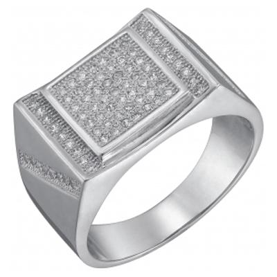 Серебряная печатка с цирконием Фианит арт. sb3r 131 sb3r 131