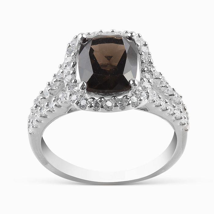 Серебряное кольцо Раухтопаз и Фианит арт. 06033 06033
