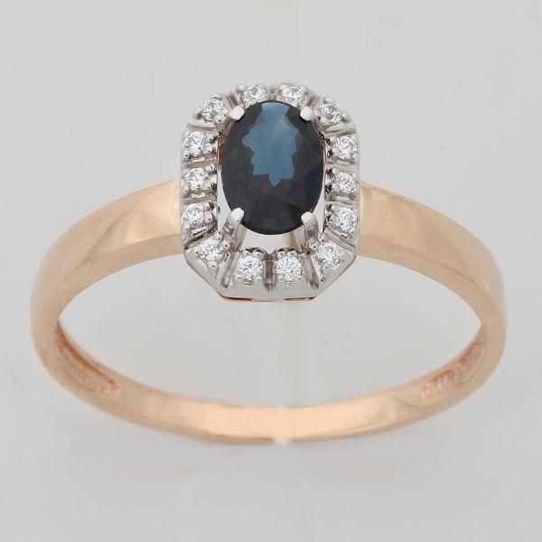 Золотое кольцо Бриллиант и Сапфир арт. 880215-б/с1 880215-б/с1