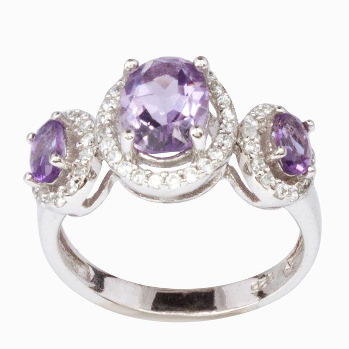 Серебряное кольцо Аметист и Фианит арт. 06102 06102