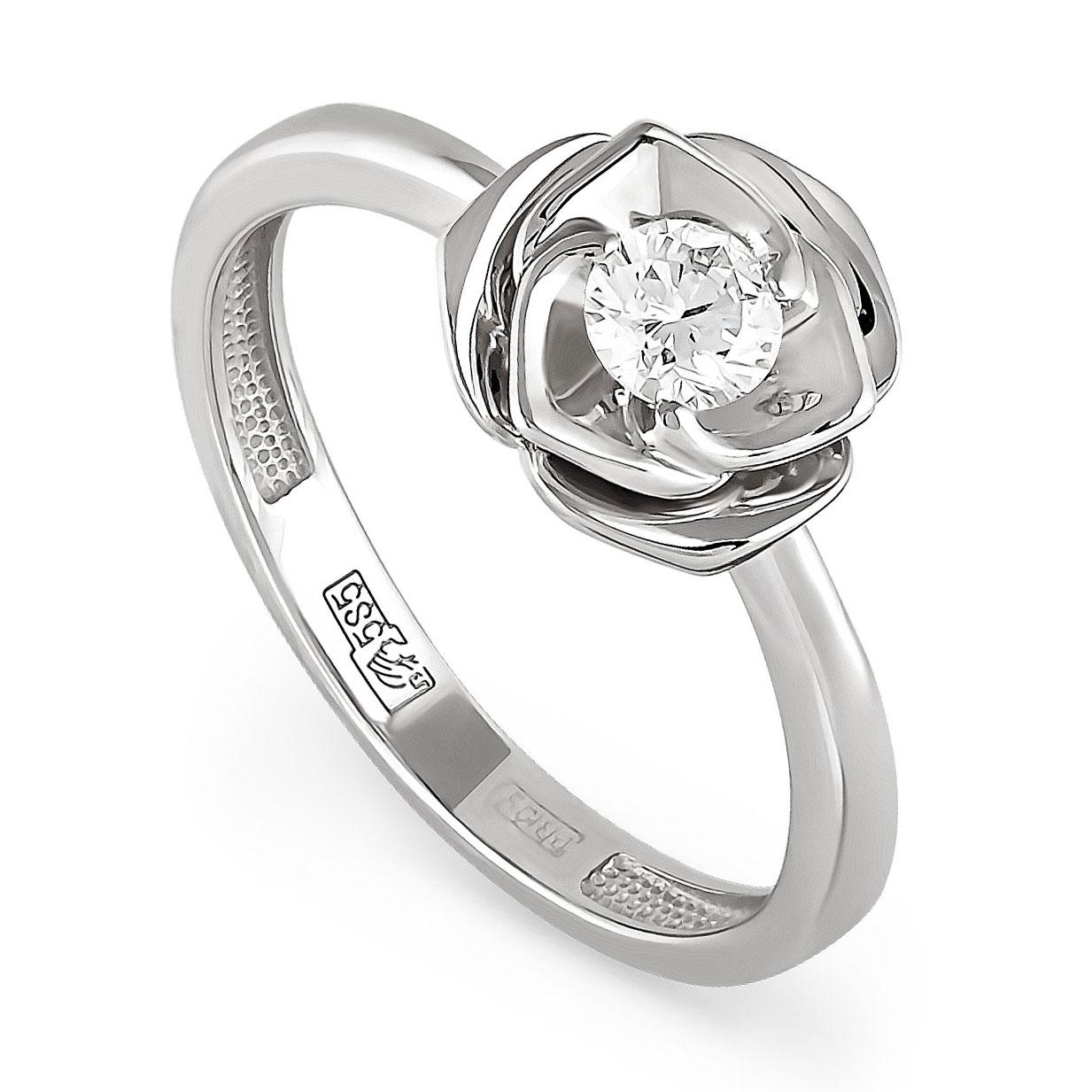 Помолвочное кольцо из белого золота с бриллиантом Бриллиант арт. 11-1733 11-1733