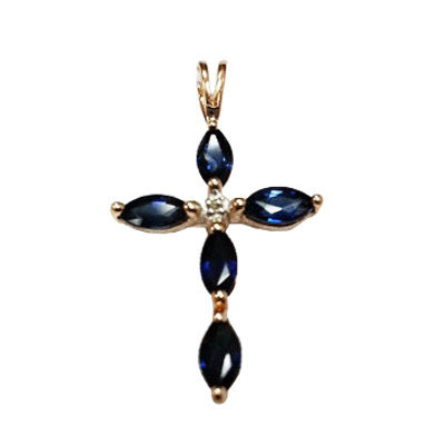 Золотой крест с бриллиантом и рубином арт. 810041-15 810041-15