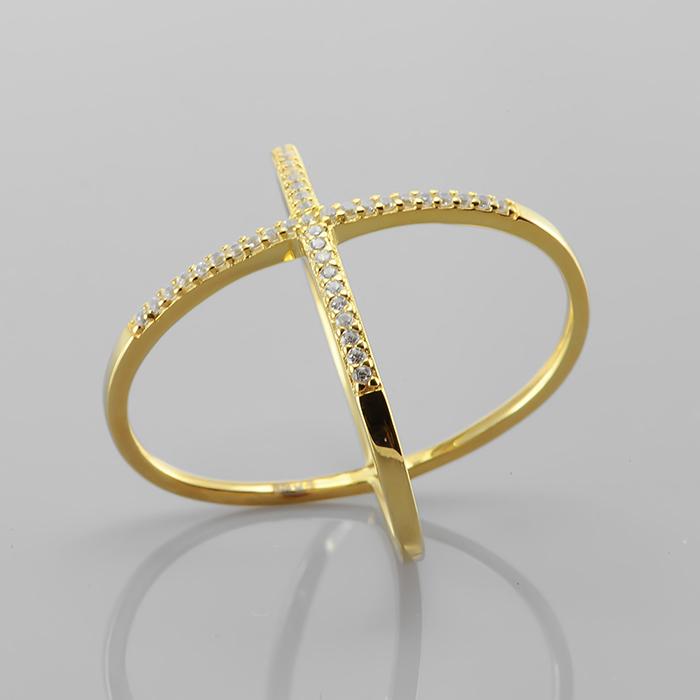 Кольцо серебряное с позолотой Прочие и Фианит арт. er1202y-p er1202y-p