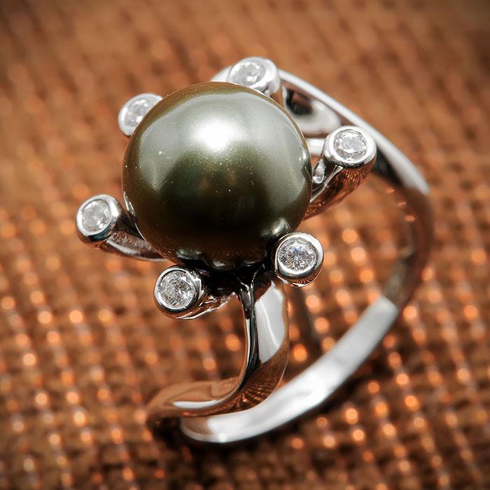 Серебряное кольцо Жемчуг и Фианит арт. r904955 r904955