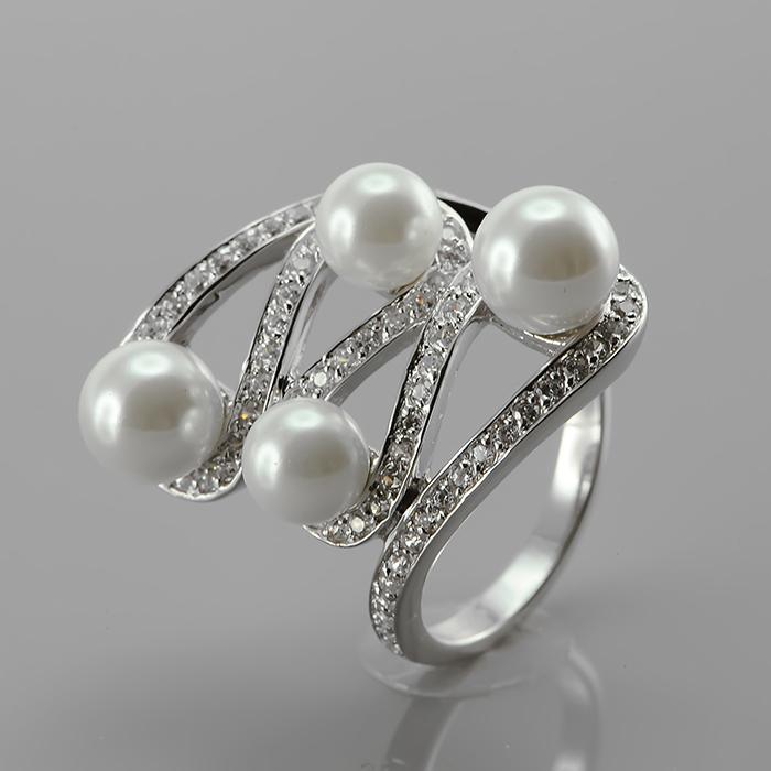 Серебряное кольцо Жемчуг и Фианит арт. r903893 r903893