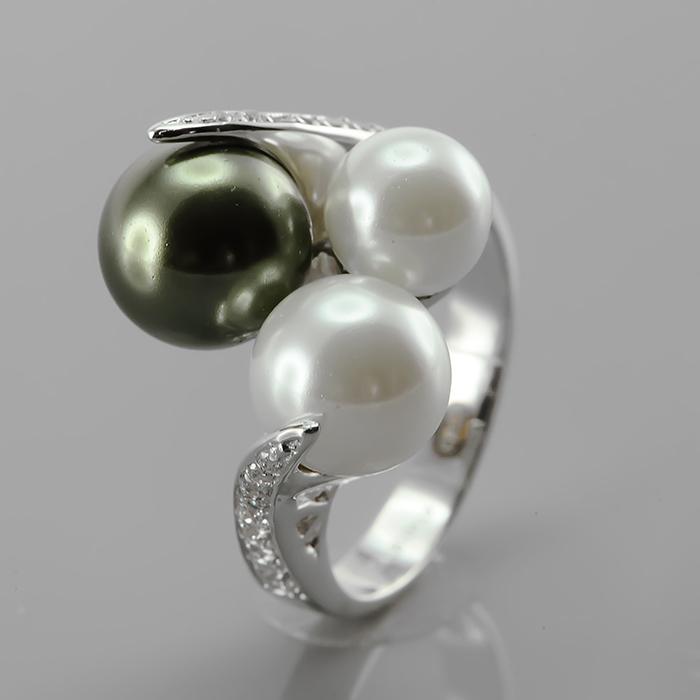 Серебряное кольцо Жемчуг и Фианит арт. r903583-1 r903583-1
