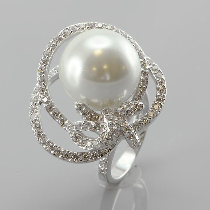 Серебряное кольцо Жемчуг и Фианит арт. r905670 r905670