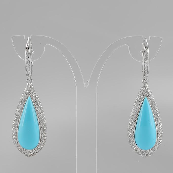 Серебряные серьги с искусственной бирюзой арт. e904651-1 e904651-1
