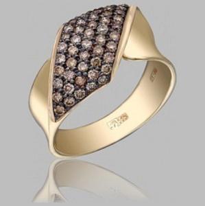 Кольцо из лимонного золота Бриллиант арт. R1036120-02 R1036120-02
