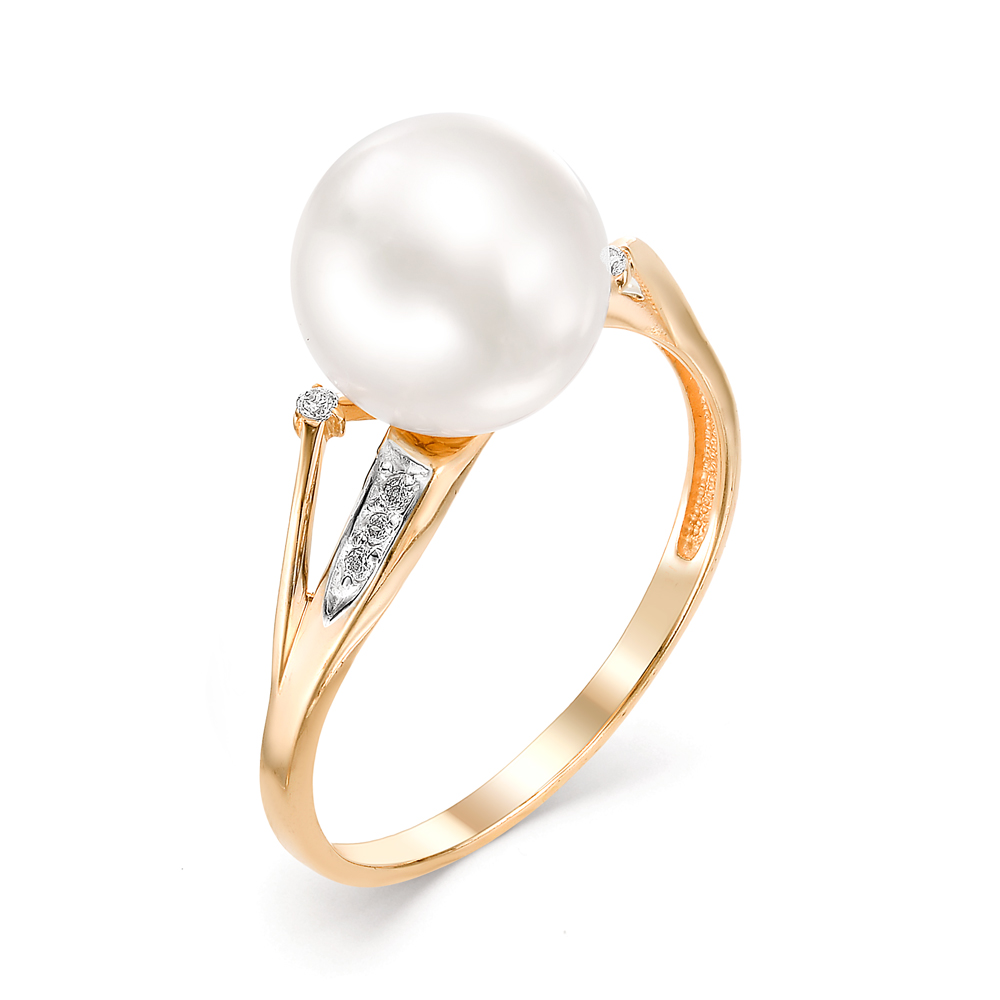 Золотое кольцо Жемчуг и Фианит арт. 31352А1 31352А1