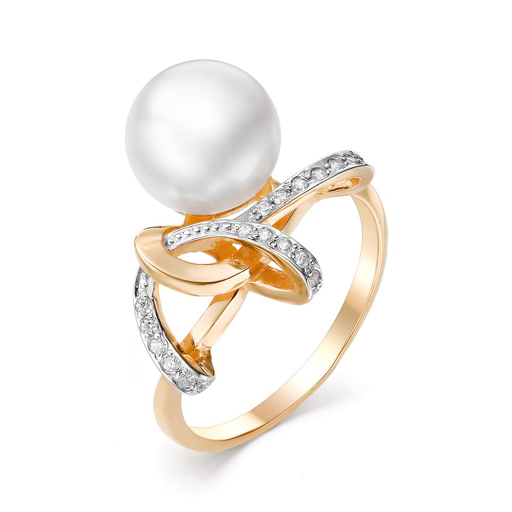 Золотое кольцо Жемчуг и Фианит арт. 31306А1 31306А1