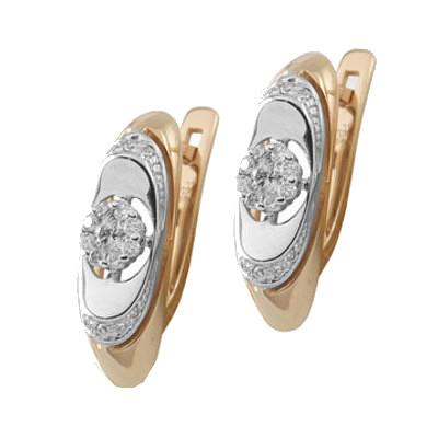 Золотые серьги с бриллиантом арт. 90429 90429