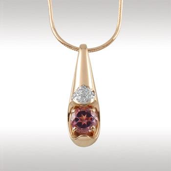 Золотое колье с аметистом и бриллиантом арт. 90409-1 90409-1