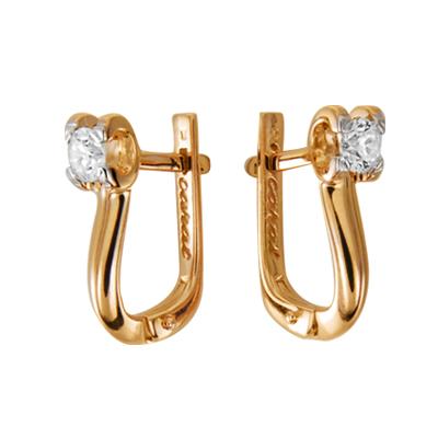 Золотые серьги с бриллиантом арт. 10010020793 10010020793
