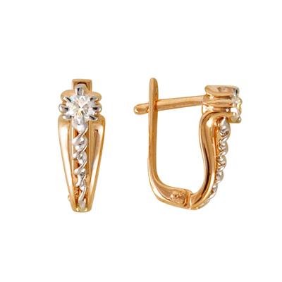 Золотые серьги с бриллиантом арт. 13010020619 13010020619