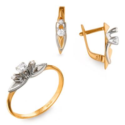 Серьги из лимонного золота с бриллиантом арт. 23010120127 23010120127