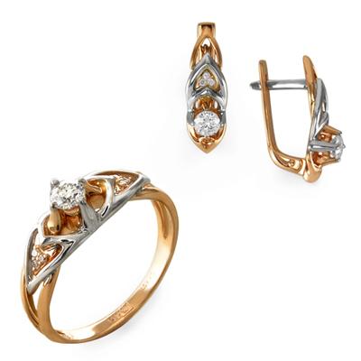 Золотые серьги с бриллиантом арт. 13010120765 13010120765