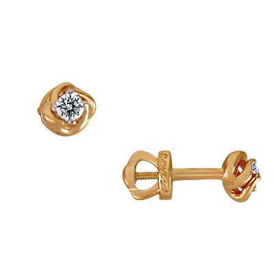 Золотая серьга с бриллиантом арт. 10010020735/1 10010020735/1