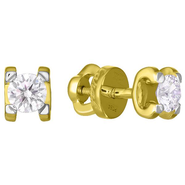 Серьги пусеты из золота с бриллиантом арт. 60010020793 60010020793