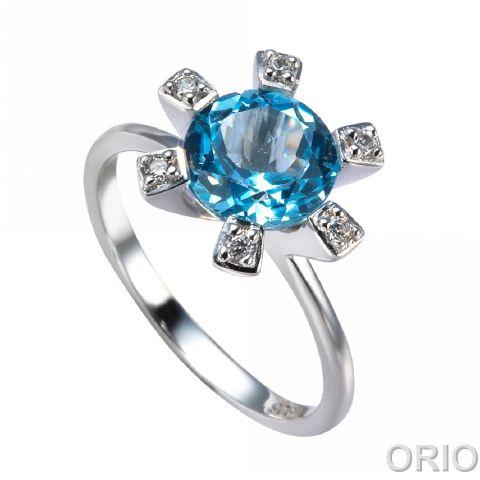 Серебряное кольцо Топаз и Фианит арт. 41100100 41100100