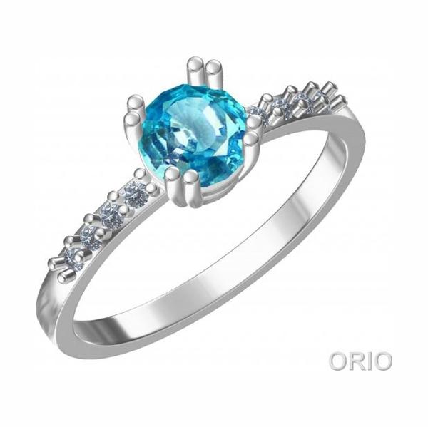 Серебряное кольцо Топаз и Фианит арт. 41110072 41110072