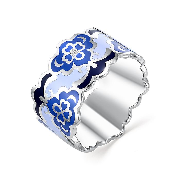 Серебряное кольцо Фианит и Эмаль арт. 01-0245/0эм2-00 01-0245/0эм2-00