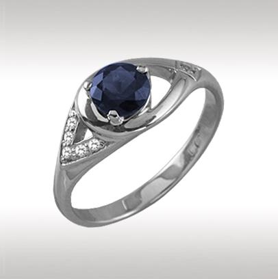 Кольцо из белого золота Бриллиант и Сапфир арт. 89389 89389