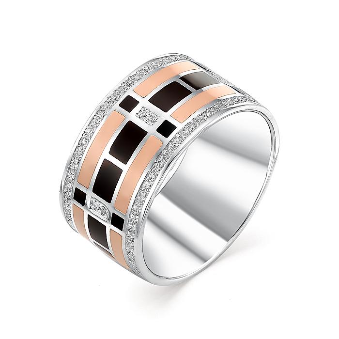 Серебряное кольцо Фианит и Эмаль арт. 01-0253/эм14-00 01-0253/эм14-00