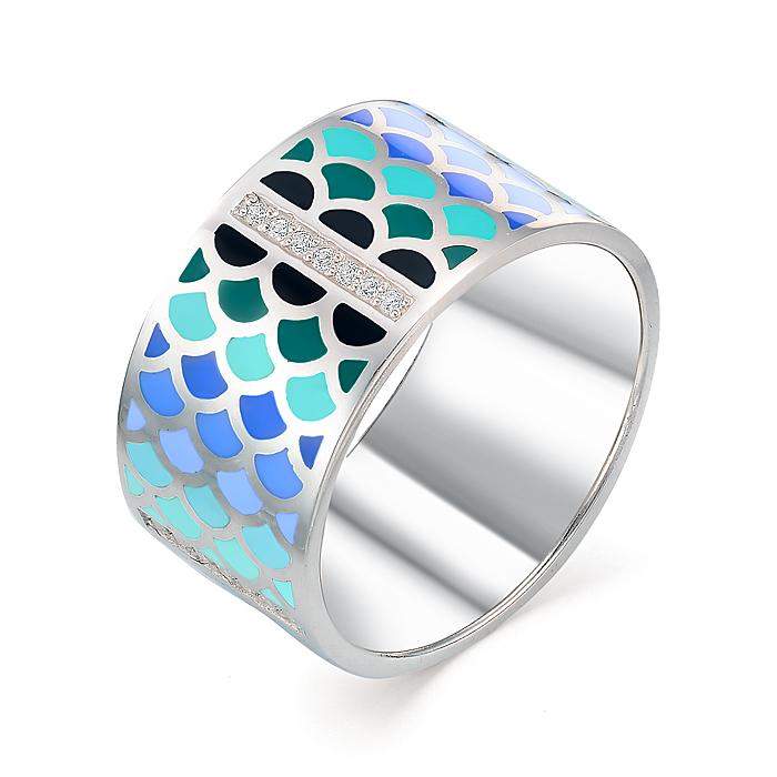 Серебряное кольцо Фианит и Эмаль арт. 01-0255/эм17-00 01-0255/эм17-00