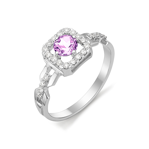 Серебряное кольцо Аметист и Фианит арт. 01-0275/00ам-00 01-0275/00ам-00