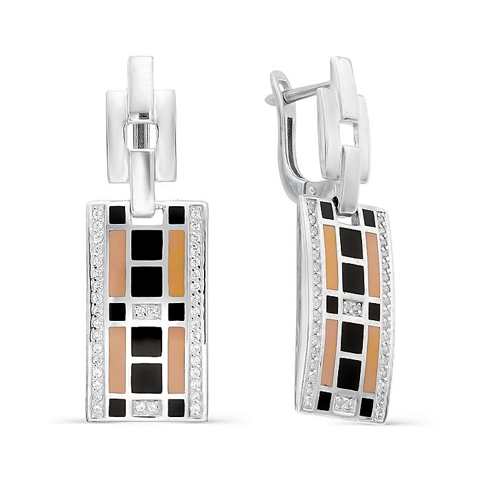 Серебряные серьги с фианитом и эмалью арт. 02-0253/эм14-00 02-0253/эм14-00
