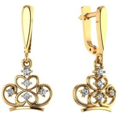 Золотые серьги с фианитом арт. 0201120-00770 0201120-00770