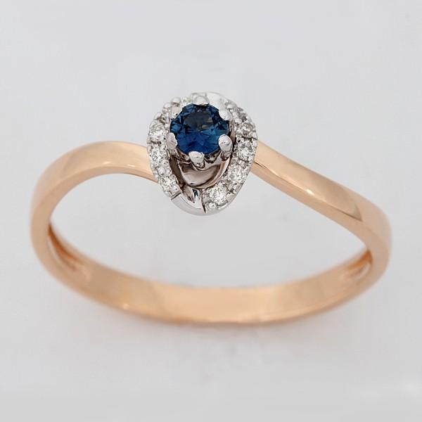 Золотое кольцо Бриллиант и Сапфир арт. 880166-бр.сапф. 880166-бр.сапф.