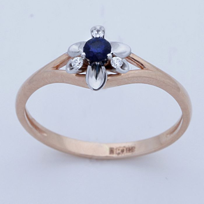 Золотое кольцо Бриллиант и Сапфир арт. 880187-б/с 880187-б/с
