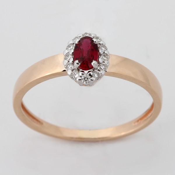 Золотое кольцо Бриллиант и Рубин арт. 880213-б.руб/1 880213-б.руб/1