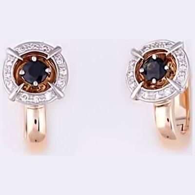 Золотые серьги с бриллиантом и сапфиром арт. 880236-сб/с2 880236-сб/с2