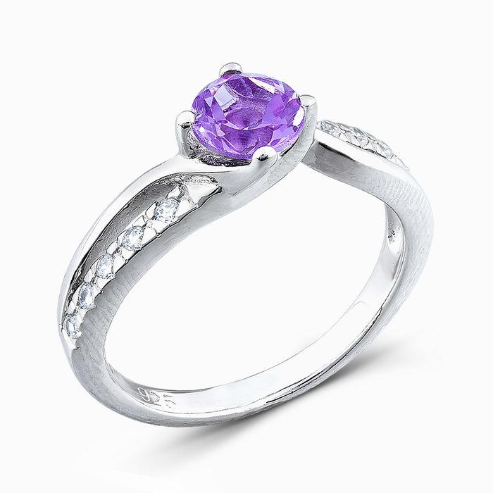 Серебряное кольцо Аметист и Фианит арт. 04845 04845