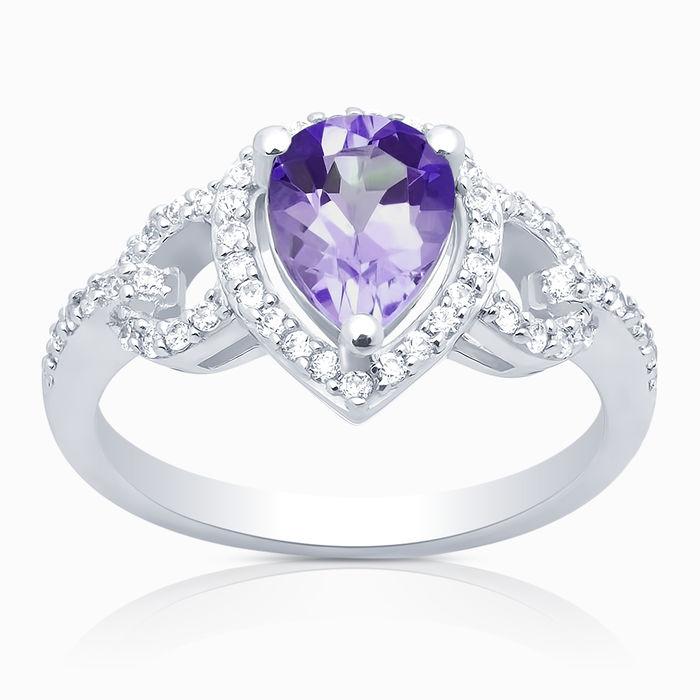 Серебряное кольцо Аметист и Фианит арт. 05999 05999
