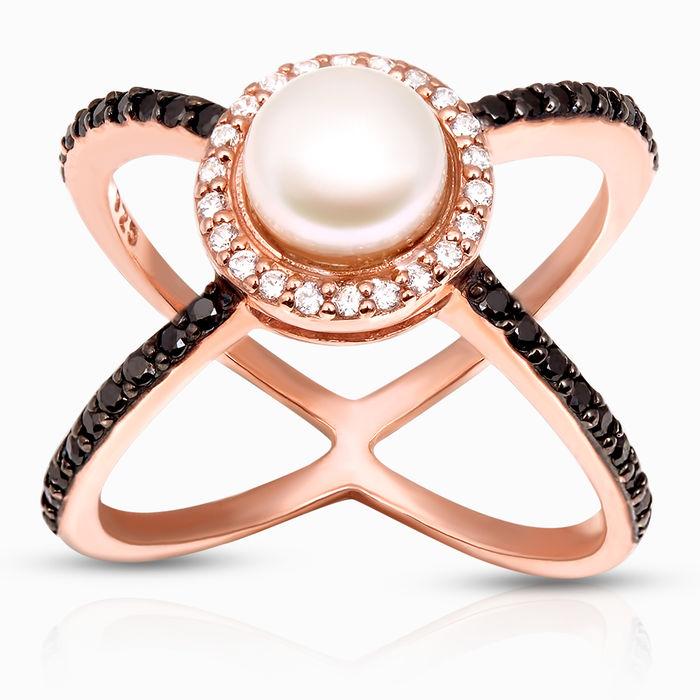 Серебряное кольцо Жемчуг и Фианит арт. 40318 40318