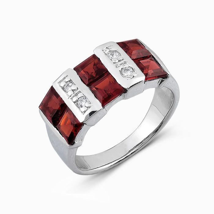 Серебряное кольцо Гранат и Фианит арт. 04844 04844