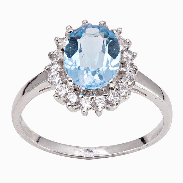 Серебряное кольцо Топаз и Фианит арт. 05064 05064