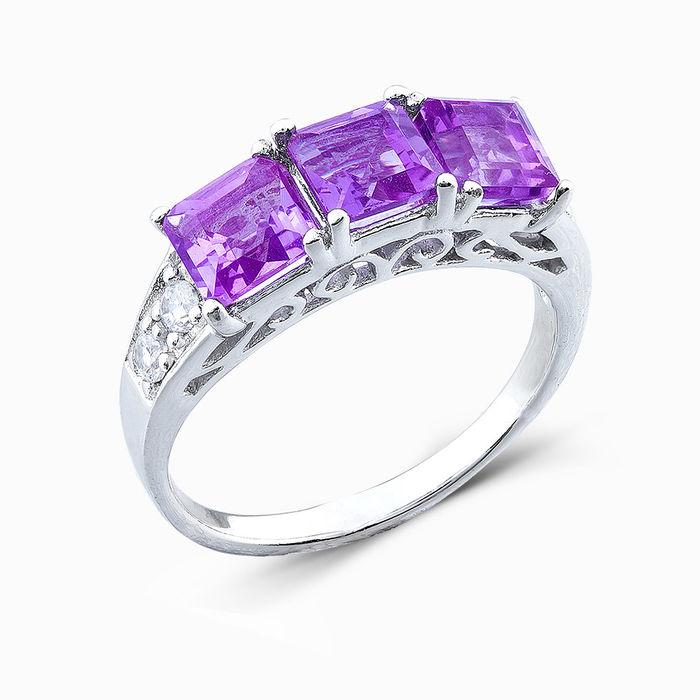 Серебряное кольцо Аметист и Фианит арт. 04791 04791