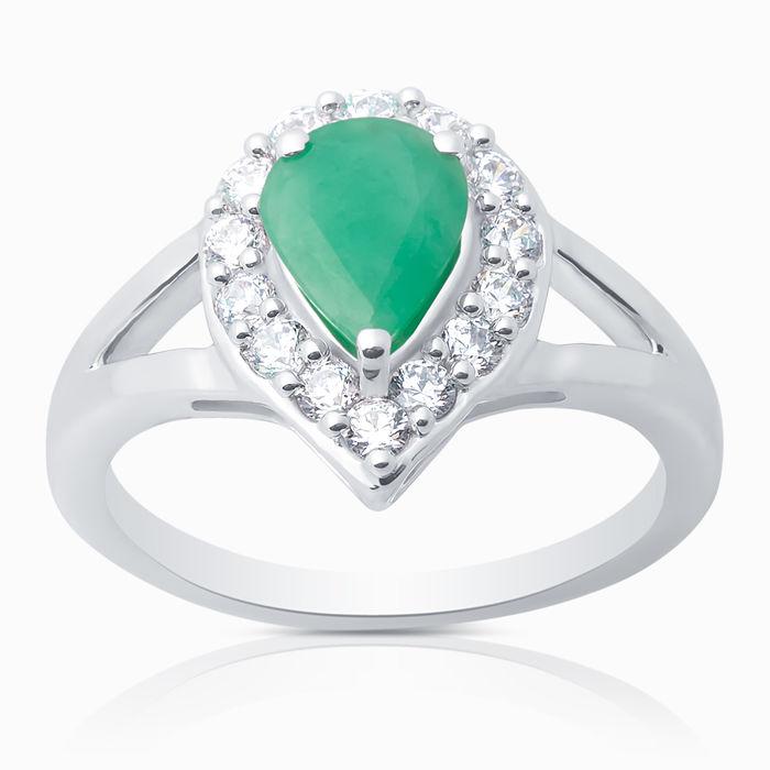 Серебряное кольцо Изумруд и Фианит арт. 04270 04270