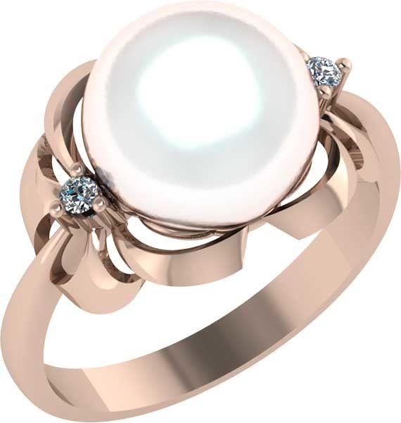 Золотое кольцо Жемчуг и Фианит арт. 1020371-11150 1020371-11150