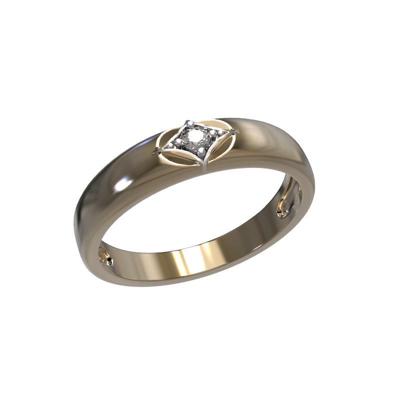 Обручальное кольцо из лимонного золота с бриллиантом арт. 1021331-31140 1021331-31140