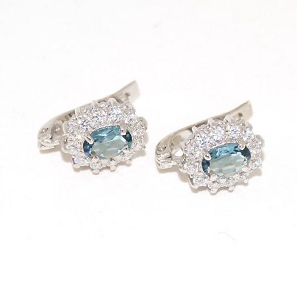 Серебряные серьги с цирконием и ювелирным стеклом арт. я43510205 я43510205