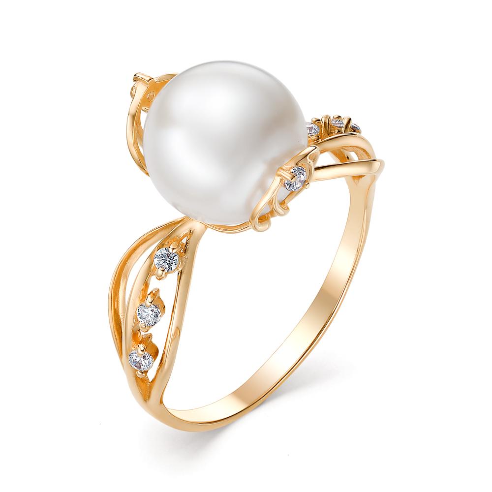Золотое кольцо Жемчуг и Фианит арт. 31402А1 31402А1