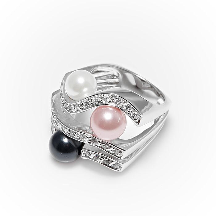 Серебряное кольцо Жемчуг и Фианит арт. r902842 r902842