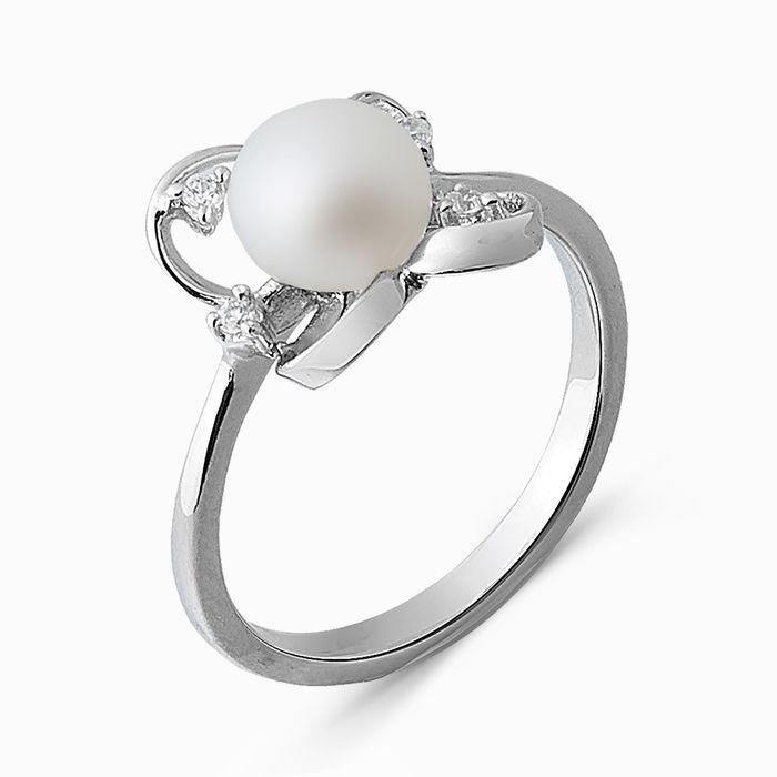 Серебряное кольцо Жемчуг и Фианит арт. 03331 03331