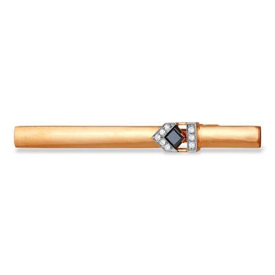 Золотой зажим с сталью и фианитом арт. 12020035 12020035